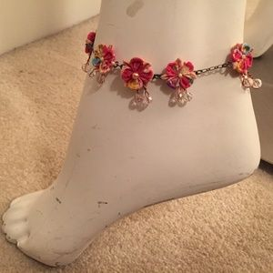 Ankle bracelet with fabric flowers and beads